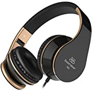 Sound Intone Headphones, Cute Headphones with Microphone and In Line Volume Control for Kids, Adjustable Foldable Headset with Perfect Sound for Iphone and Android Devices (Black Gold)