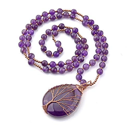 JOVIVI Raw Amethyst Crystal Tree of Life Necklace Women Prayer Mala Meditation Beads Natural Purple Gemstone Healing Chakra Long Necklace Men Jewellery