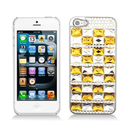 Aimo Wireless IPH5PC3D-SPC509 3D Premium Stylish Diamond Bling Case for iPhone 5 - Retail Packaging - Gold Crystal Mirror