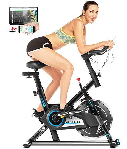 ANCHEER Heimtrainer Fahrrad Ergometer heimtrainer 150 kg mit App-Verbindung, 18 kg Schwungrad Fitnessbike mit einstellbarem Widerstand, Herzfrequenzsensoren und Getränkehalter