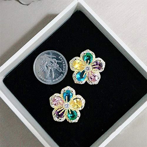 FEARRIN Pendientes de aro Flor Pendientes de botón de turmalina Multicolor Natural Pendientes de Piedras Preciosas Naturales Plata Mujer Chica Fiesta Regalo Joyería Multi
