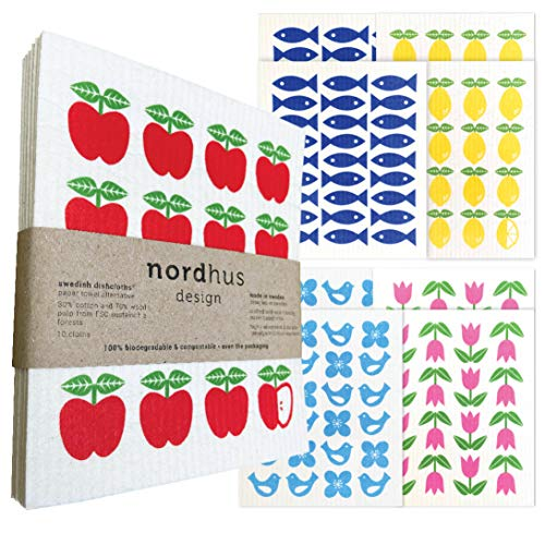 Nordhus Design - Paños de papel reutilizables de celulosa natural, biodegradables y ecológicos europeos para decoración de cocina (paquete de 10)
