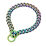 Collar de perro personalizado, cadena de acero inoxidable pulido a mano, apto para perros pequeños, medianos y grandes (color/15 mm), 55,88 cm