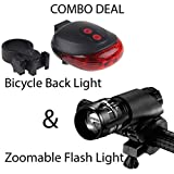 UDee 5 LED Laser Tail Light and Zoom able Mode Bicycle Headlight LED