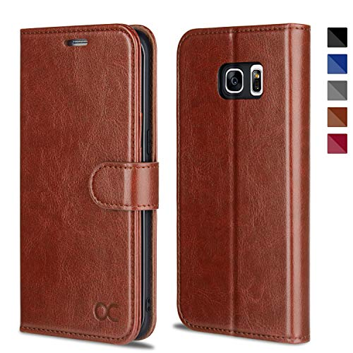 OCASE Galaxy S7 Edge Case [TPU Shockproof Interior Protective Case] [Card Slot] [Kickstand] Leather Wallet Flip Case Samsung Galaxy S7 Edge (Brown)