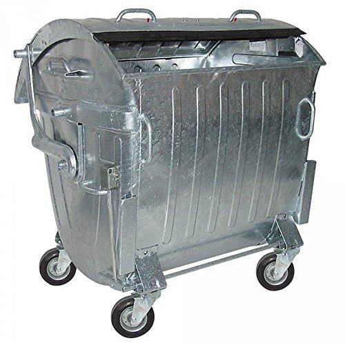 BRB 1100 Liter Müllcontainer, fahrbar, Stahlblech verzinkt, mit Zentralstopp
