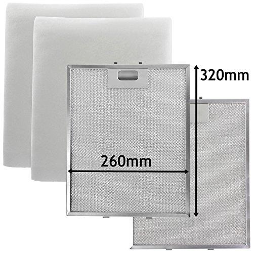 2 filtres treillis métallique pour MOFFAT Hotte Vent filtre 320 x 260 mm