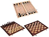 3 en 1 Juego de ajedrez juego de ajedrez de madera Backgammon Checkers plegable Tablero de ajedrez de vestir interior Piezas de ajedrez para niños para actividades familiares Padre-Niño Entretenimient