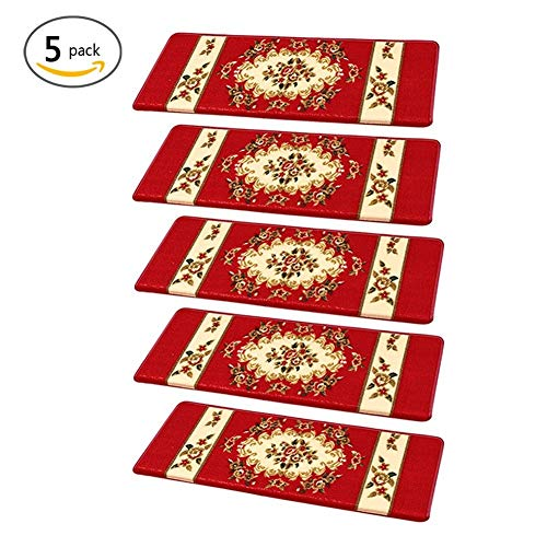 Sue fornitura antiscivolo autoadesivo High-End Billigerluxus Staircase tappetini Stepping Pads 65 x 24 x 3 cm Premium poliacrilonitrile fibra Carpet stair treads- set di 5 pezzi Red