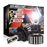 NOVSIGHT H13/9008 LED Headlight Bulbs, 12000 Lumens 60W Super Bright Headlights Conversion Kits, 6500K Cool White Pack of 2