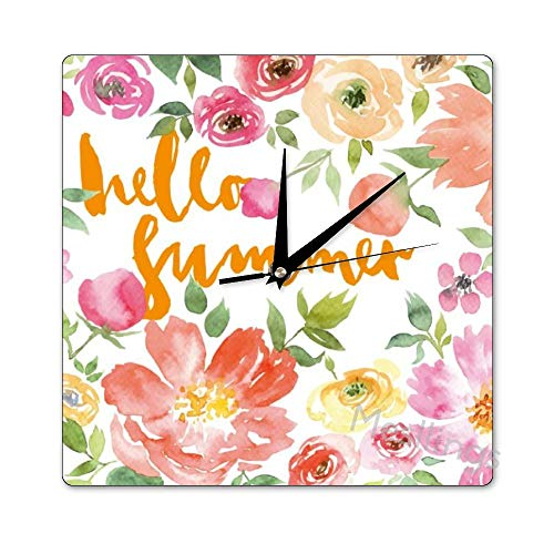 Mesllings Scale-Free Wall Clocks Watercolor Pink Red Roses Square Wall