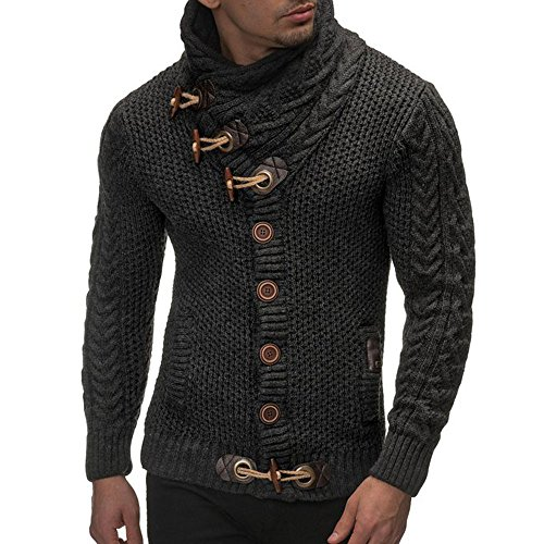 Usstore 👕 Men Autumn Winter Casual Cardigan Sweater Long Sleeve Coat Knitting Buckle Keep Warm Sweater Coats (Dark Gray, L)