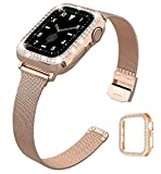 QVLANG Compatible Apple Watch Band 38mm Series 3/2/1, Stainless Steel Mesh Metal Soft Thin Replacement Wristband for Women Girls + Bling Case for iWatch (Rose Gold, 38mm)