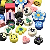 NBEADS 200 PCS Forma Mista E Colore Fatto A Mano Fimo Polymer Clay Bead Charms, 7-14X7-14X4-16mm, Foro: 2mm