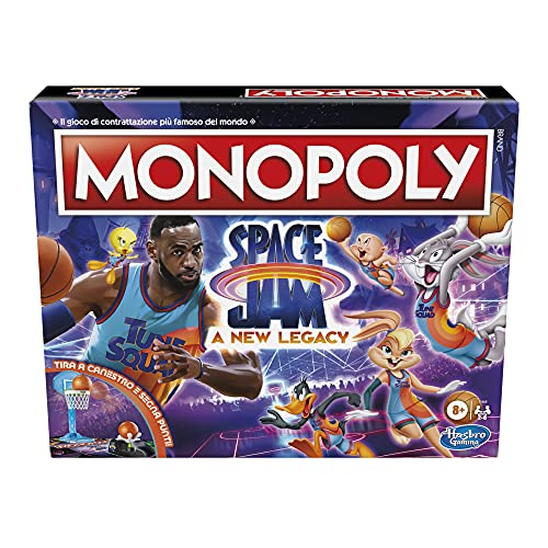 Monopoly: Space Jam: un Nuevo Juego de Mesa Familiar de edición Legado, Juego Lebron James Space Jam 2, para niños de 8 años en adelante