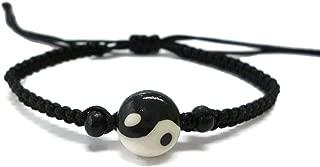 Moose546 Yin-Yang Pendant Friendship Bracelet with a Sliding Knot Adjustable Cotton Cord Bracelet FC-054