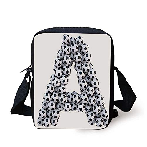 Letter A,Realistic Soccer Balls in Form of Capital A Sports Play League Competition Theme Decorative,Black White Print Kids Crossbody Messenger Bag Purse