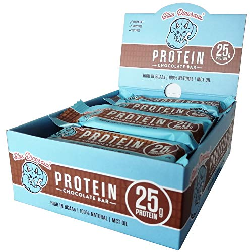 Blue Dinosaur Chocolate Protein Bars (Box of 12 x 60g Bars) - 25g of Protein per Bar - 100% Natural - High in BCAAs - MCT Oil - Gluten Free - Dairy Free - Soy Free - No Added Sugar
