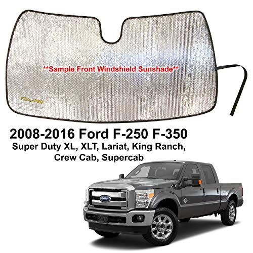 YelloPro Custom Fit Automotive Reflective Front Windshield Sunshade for 2008 2009 2010 2011 2012 2013 2014 2015 2016 Ford F250 F350 Super Duty XL XLT Lariat, King Ranch, Crew Cab Supercab Accessories