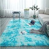 Blue Plush Carpet Living Room Bedroom Non-Slip Carpet Coffee Table Sofa Area Exquisite Crystal Velvet Carpet140*200Cm
