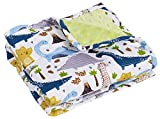 Reecio Sensory Weighted Lap Pad for Toddlers (3 lbs, 20 x 28 in), Dual Sided Cotton & Plush Minky Dot Weighted Lap Blanket for Kids, Toddler Boys Girls & Tiny Dogs - with Wash Bag (Dinky Dinosaur)