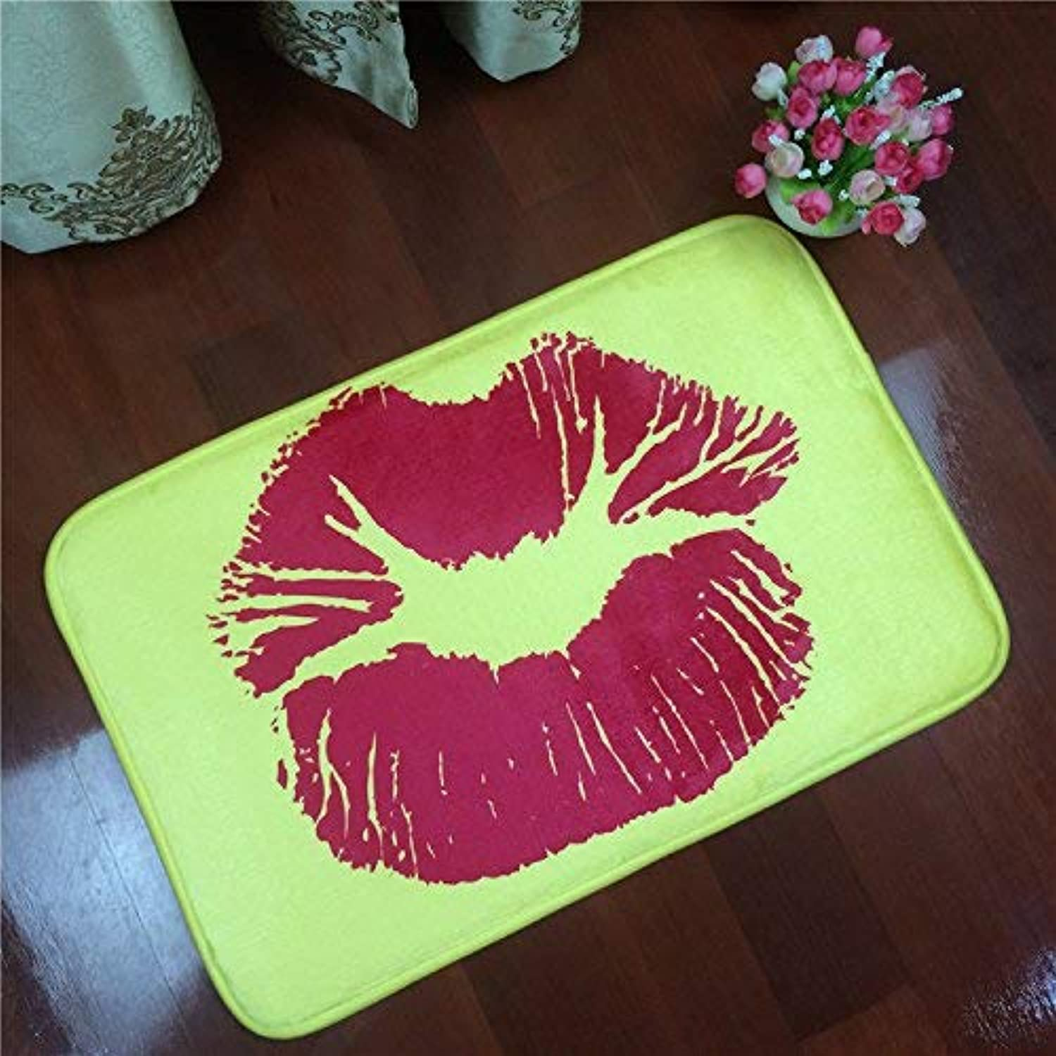 Royare Home Decorations mat Tkopainsde 40  60Cm 50  80Cm Non-Slip 3D Printed Doormats Sexy Red Lips Printing Bath Mat Bedroom Bathroom Mat Rugs,White,400Mmx600Mm