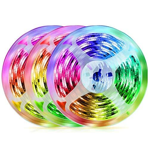JIXIN Tira De Luces LED De 49,2 Pies / 15 M, Cuerda De Cambio De Color De Tira De LED RGB, Luces LED Remotas para La Fiesta En Casa del Dormitorio (3 X 16,4 Pies)