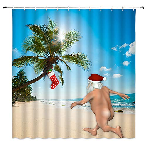 Streaking Santa Shower Curtain