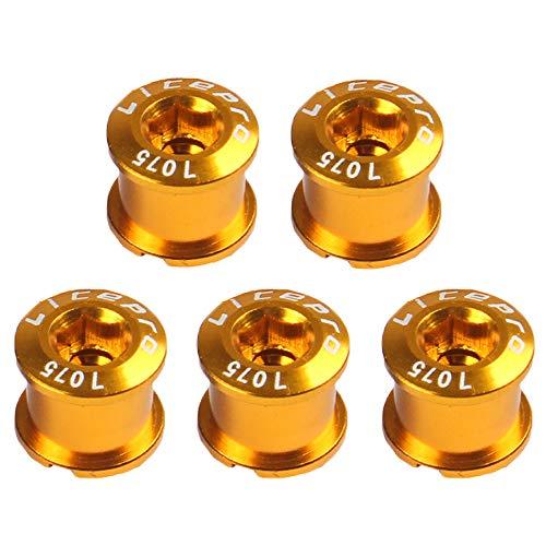 LYNKO Singlespeed Kettenblattschrauben M8 singlespeed 7075 Aluminumlegierung Kettenblatt-Schraub für MTB-Rennräder, Mountainbike, BMX, 5 Stück(Golden)