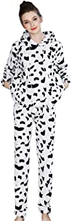 Pijamas de Franela para Damas de otoño e Invierno Engrosamiento de Pijamas caseros Pijamas más Suaves para Mujeres Pijamas con Pijamas de Manga Larga STRIR