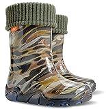 DEMA Boys Kids Fleece-Lined Wellington Boots Wellies Khaki New (10-11 UK / 28-29 EU - 19 cm)