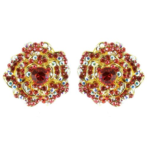 Rosa en chapado en oro Vintage Movie Star Flower pendientes