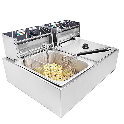 Clevr Two 11 Liter Basins Capacity Commercial Stainless Steel Deep Fryer Machine 110v Double Two Tank Design Restaurant