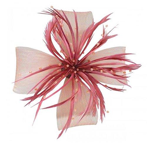 Large nœud net et plumes fascinators gespaltene clip sur une broche pin. assorties et de rose/fuchsia und...