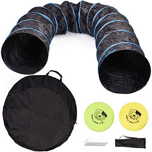 Premium Hundetunnel mit Aufbewahrungstasche (Groß 545x60cm), 2 Frisbees, 8 Erdnägel mit Tragetasche| Leichte & Langlebige 210D Oxford - Agility Training Spieltunnel für Hunde & Kinder.