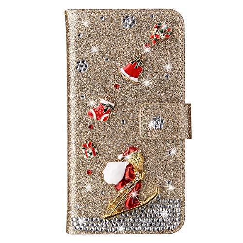 King phone Natale Custodia Cover Samsung Galaxy J5 2016 J510 Glitter Bling Libro Pelle Christmas Custodia Babbo Natale Magnetica Chiusura Supporto di Stand Protettiva Custodia, Oro