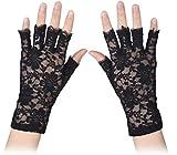 MINGZE Guantes de encaje, mujeres guantes de medio dedo de longitud de la muñeca, boda nupcial sexy Guantes de encaje sin dedos de encaje floral guantes de protección UV (Negro)