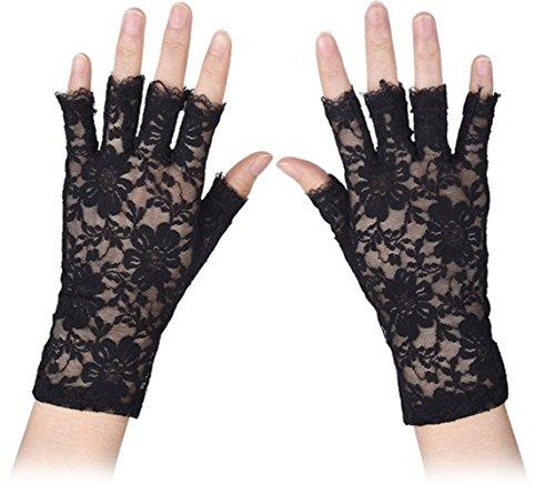 MINGZE Spitzen Handschuhe, Frauen Handgelenk Länge Halbe Fingerhandschuhe, Sexy Braut Hochzeit Blumenspitze Fingerlose Handschuhe UV Schutz Kostüm Handschuhe (Schwarz)