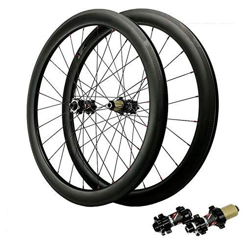 Ciclismo Wheels Fibra De Carbono,Juego De Ruedas De Bicicleta Carretera 700C Racing Vacío Altura del Círculo 50mm Freno Disco 7-12 Velocidades Deportes (Color : Black, Size : 55mm Opening)