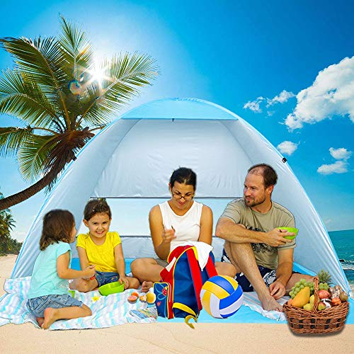 Large Beach Tent UV Pop Up Sun Shelter Tents, Big Portable Automatic Sun...