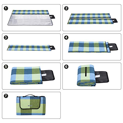 SONGMICS 195 x 150 cm Picnic Blanket Waterproof Backing GCM50C