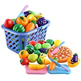 iVansa Einkaufskorb Kinder, 29 Teile Kaufladen Zubehör Kinderküchen Zubehör Lebensmittel Obst und Gemüse Schneiden Spielzeug