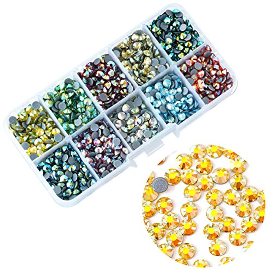 BLINGINBOX 1000pcs Mix Colors AB with Box, 10 Colors ss20(4.6-4.8mm) Hotfix Rhinestone Garment Crystal Glass Material