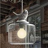 Lampadario Per Uccelli In Vetro Per Uso Domestico Ristorante Creativo Camera Per Bambini Balcone Lampadario In Vetro A Una Testa Uccello-Testa Singola Lampadario