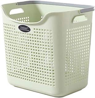 XYZMDJ Divisé en Bambou Toile Hamper - Double Lavage Panier avec Couvercle Moderne Section Pliable Hamper (Color : Green)