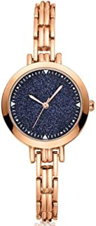 Stylish watch Women's Watch Quartz Wrist Watch Starry Sky Watch with Round Dial and Metal Strap for Elegant Female Office Lady,Silver Watch (Color : Gold)