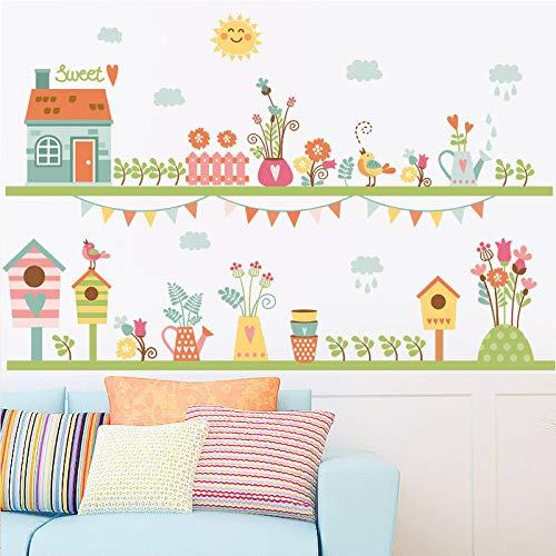 Cartoon Sonnenwolke grün Bonsai Vogelhaus Vogelkäfig Wandaufkleber Fußleiste Wand Grenze Aufkleber Tapete Poster Wand Grafik Wandaufkleber50x70cm