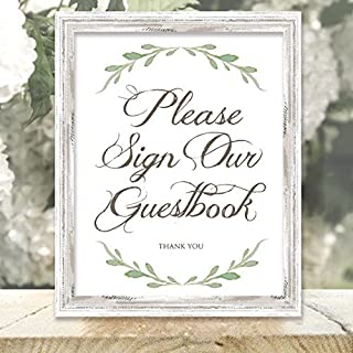 Please Sign Our Guestbook Sign - Greenery Wedding Signs - 8.5-inch x 11-inch Printed Guestbook Sign - Frame Not Included