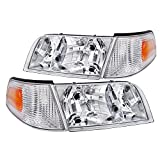 Spec-D Tuning Chrome Housing Clear Lens Headlights + Corner Lights for 1998-2011 Crown Victoria Head Light Turn Signal Parking Lamps Left+Right Pair