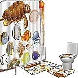 Juego de cortinas baño Accesorios baño alfombras Acuario Alfombrilla baño Alfombra contorno Cubierta del inodoro Diferentes tipos de animales marinos Tortuga Medusas y peces Estilo exótico de dibujos